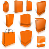 Ten orange blank boxes isolated on white Royalty Free Stock Photography