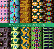 Ten patterns backgrounds nature seamless. stock illustration