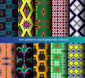 Ten patterns backgrounds seamless. Stock Photo