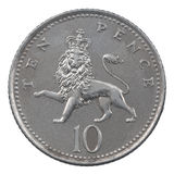 Ten Pence coin. Isolated over a white background Royalty Free Stock Photography