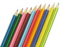 Ten pencils. Ten colorful wooden pensils over white background Royalty Free Stock Images