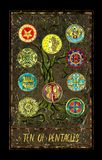 Ten of pentacles. Minor Arcana tarot card. The Magic Gate deck. Fantasy graphic illustration with occult magic symbols, gothic and esoteric concept stock illustration