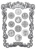 Ten of pentacles. Minor Arcana Tarot card. Tarot card. The Magic Gate deck. Fantasy engraved vector illustration with occult mysterious symbols and esoteric stock illustration