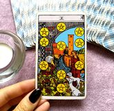 Ten X of Pentacles Tarot Card. This card is about Status, Reputation Strong Investments, Solid Foundations, Security, Protection, Financial Rewards stock photos