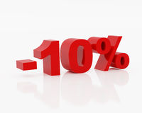 Ten percent. High resolution image ten percent. 3d illustration over  white backgrounds Stock Image