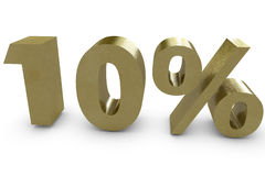 Ten percent in 3d. Gold color Royalty Free Stock Image
