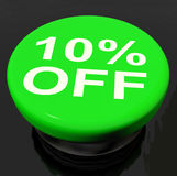 Ten Percent Button Shows Sale Discount Or 10 Off Royalty Free Stock Photography