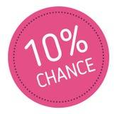 Ten percent chance advertising sticker. Label, stamp on white stock illustration