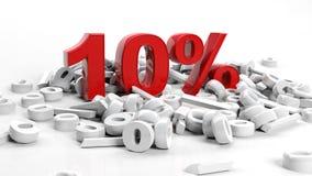 Ten percent. 3D Rendering of a ten percent symbol Royalty Free Stock Images