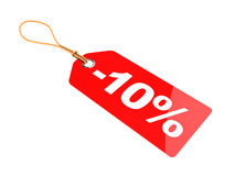 Ten percent discount. 3d illustration of ten percent discount tag, isolated over white Stock Photography