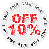 Ten percent discount. Scribble texture Royalty Free Stock Photo
