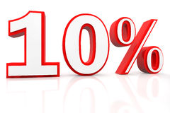 Ten Percent Discount. In big red-white 3D letters Stock Image