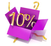 Ten Percent Discount Gift Box Stock Photo