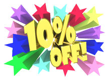 Ten percent discount. Golden text among bright multi colored stars. 3d render Royalty Free Stock Photo
