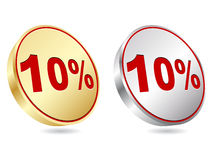 Ten percent discount icon. Vector illustration Stock Images