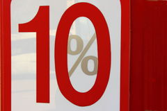 Ten percent. Figure on a white background red and ten mark interest Royalty Free Stock Photography