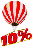 Ten percent flies in a hot air balloon. Isolated. 3D Illustration Stock Image