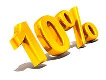 Ten percent. Gold. 3d Very beautiful three-dimensional illustration, figure Royalty Free Stock Photo