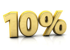 Ten percent gold. 3d ten percent gold on white background Stock Images