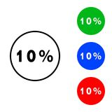Ten percent  icon. Illustration. flat and outline style Royalty Free Stock Photo