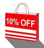 Ten Percent Off Bag Means Reductions 3d Illustration. Ten Percent Off Shopping Bag Means Reductions 3d Illustration vector illustration