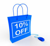 Ten Percent Off Bag Shows Online Sales and 10 Royalty Free Stock Photography