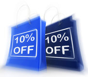 Ten Percent Off On Bags Shows 10 Bargains Stock Photo