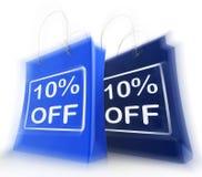 Ten Percent Off On Bags Shows 10 Bargains. Ten Percent Off On Bags Show 10 Bargains stock illustration
