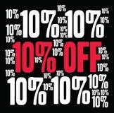 Ten Percent Off Word Cloud. Ten Percent Off on a black background Stock Photos