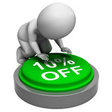 Ten Percent Off Button Means 10 Lower Price Stock Photo