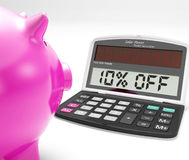 Ten Percent Off Calculator Shows Discount Reduction Royalty Free Stock Images
