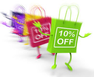 Ten Percent Off On Colored Bags Show Bargains Royalty Free Stock Photos