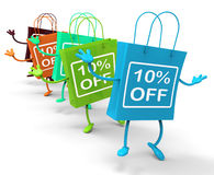 Ten Percent Off On Colored Shopping Bags Royalty Free Stock Image