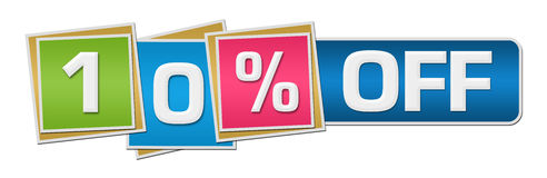 Ten Percent Off Colorful Squares Bar. Ten percent off concept image with text over colorful background Royalty Free Stock Photography