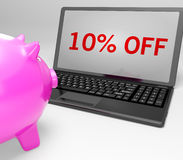 Ten Percent Off On Notebook Showing Small Prices Royalty Free Stock Photography