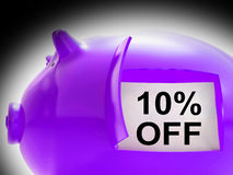 Ten Percent Off Piggy Bank Coins Shows 10 Savings Royalty Free Stock Photography