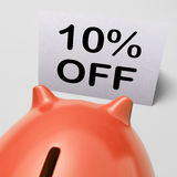Ten Percent Off Piggy Bank Means Save 10 Royalty Free Stock Images
