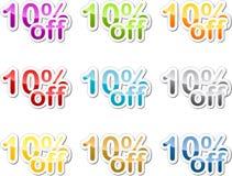 Ten percent off sticker. Ten percent off sales reduction marketing announcement sticker Stock Photos