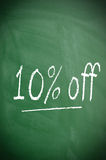 Ten percent off. Texture of a blackboard with 10 percent off Stock Photography