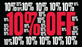 Ten Percent Off Word Cloud. Ten Percent Off on a black background Royalty Free Stock Photos