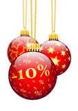 Ten Percent, 10% - Price Reduction Red Christmas Baubles - X-Mas. Ten Percent, 10%, Price Reduction Red Christmas Baubles - Christmas Offers, Seasonal Discount stock illustration