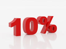 Ten percent of red color. High resolution image ten percent. 3d illustration over  white backgrounds Royalty Free Stock Images
