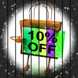 Ten Percent Reduced On Bags Shows 10 Promotions Royalty Free Stock Photo