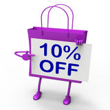 Ten Percent Reduced On Shopping Bags Shows 10 Stock Image