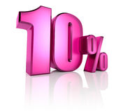 Ten Percent Sign. Pink ten percent sign isolated on white background. 3d rendering Stock Photos