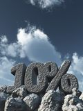Ten percent. Stone number ten and percent symbol under cloudy sky - 3d rendering Stock Image