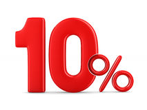 Ten percent on white background. Isolated 3D illustration.  Royalty Free Stock Images