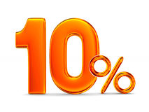 Ten percent on white background. Isolated 3D illustration Stock Images