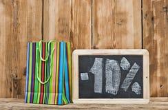 Ten percent written on blackboard Stock Photos