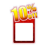 Ten percentage off label with text space. Ten percentage off - red and yellow label with text space and rate sign, sale concept Stock Photo